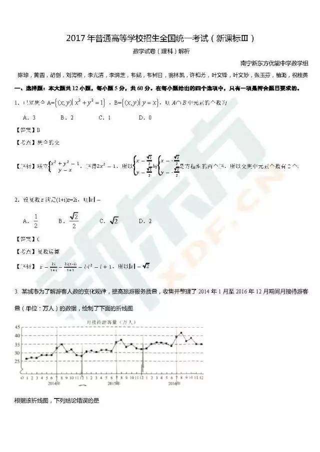 2017高考全国卷3理科数学真题解析(南宁新东方优能)