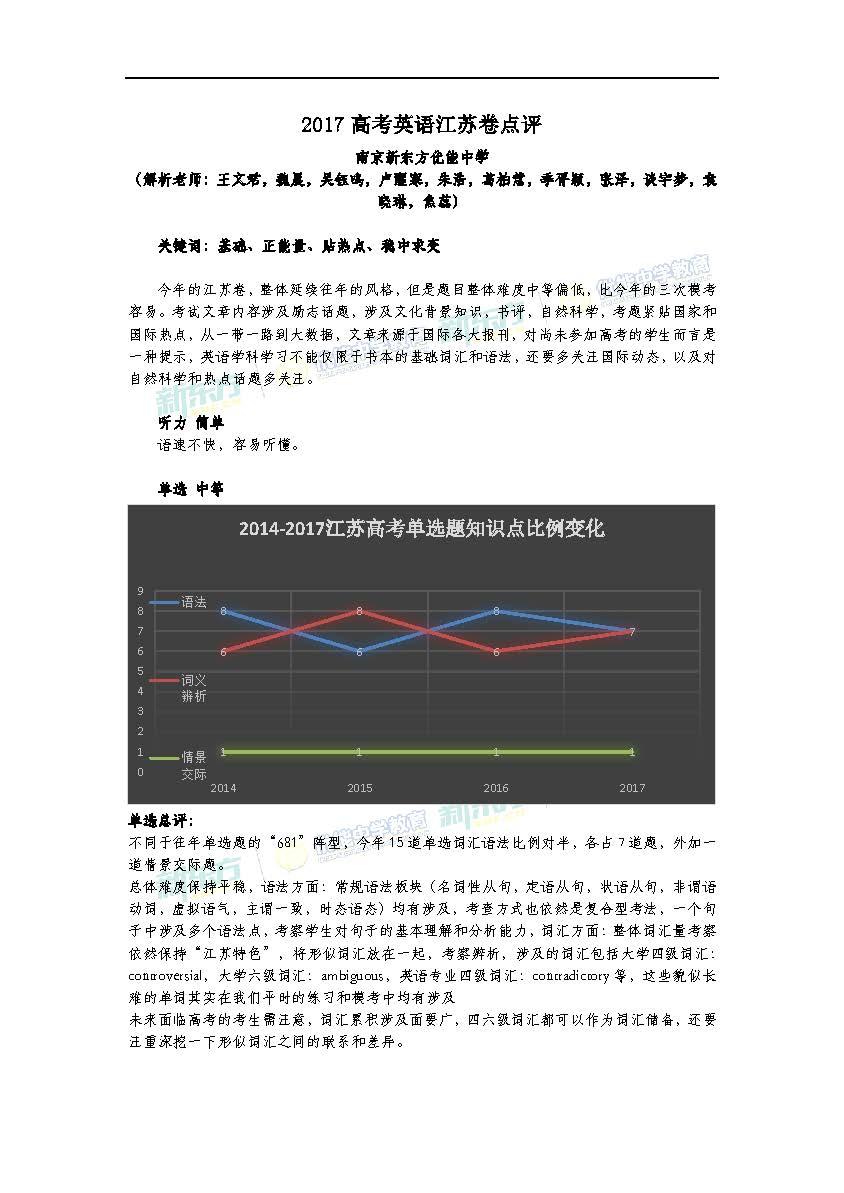 2017江苏高考英语试卷点评(南京新东方优能)