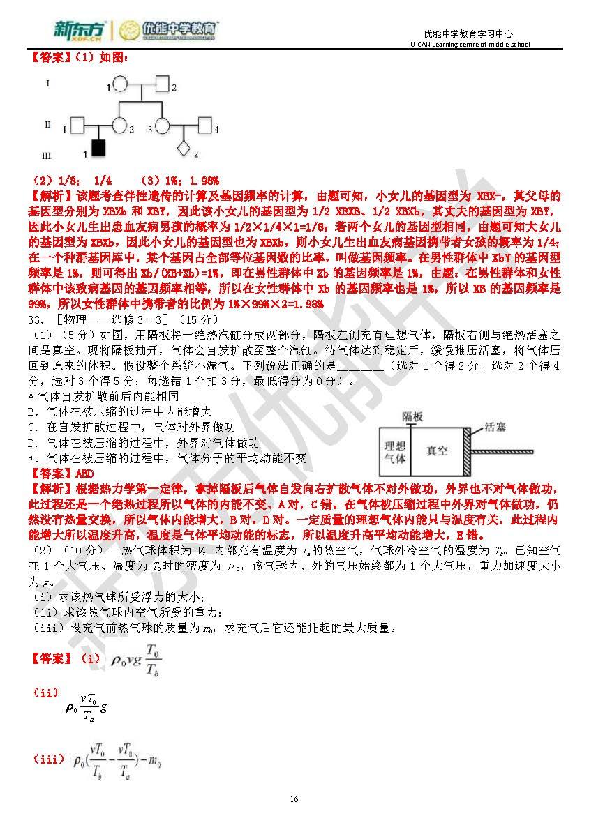 2017高考全国卷II理综逐题解析(哈尔滨新东方优能)