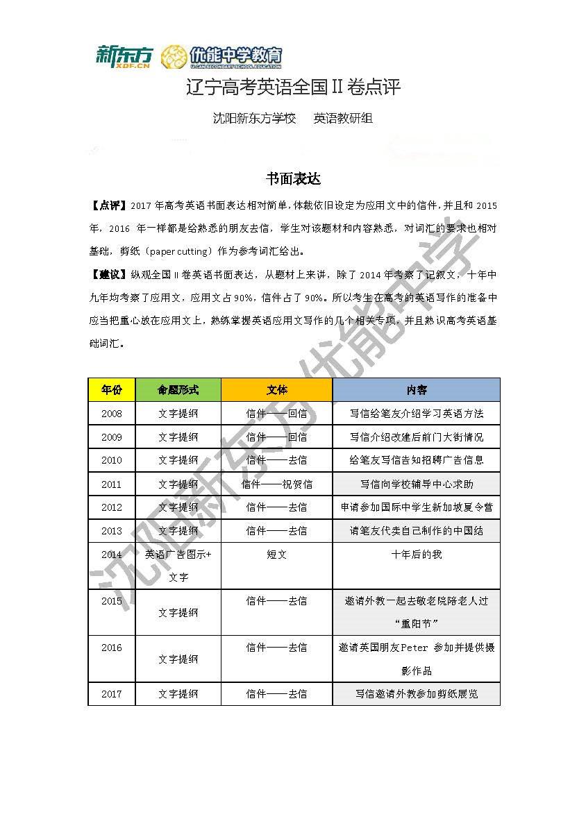 2017高考全国卷II英语考试点评(沈阳新东方优能)