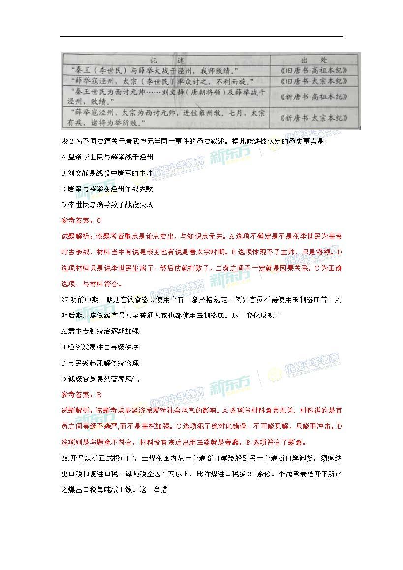 2017高考全国卷1文综历史解析(南昌新东方优能)图片