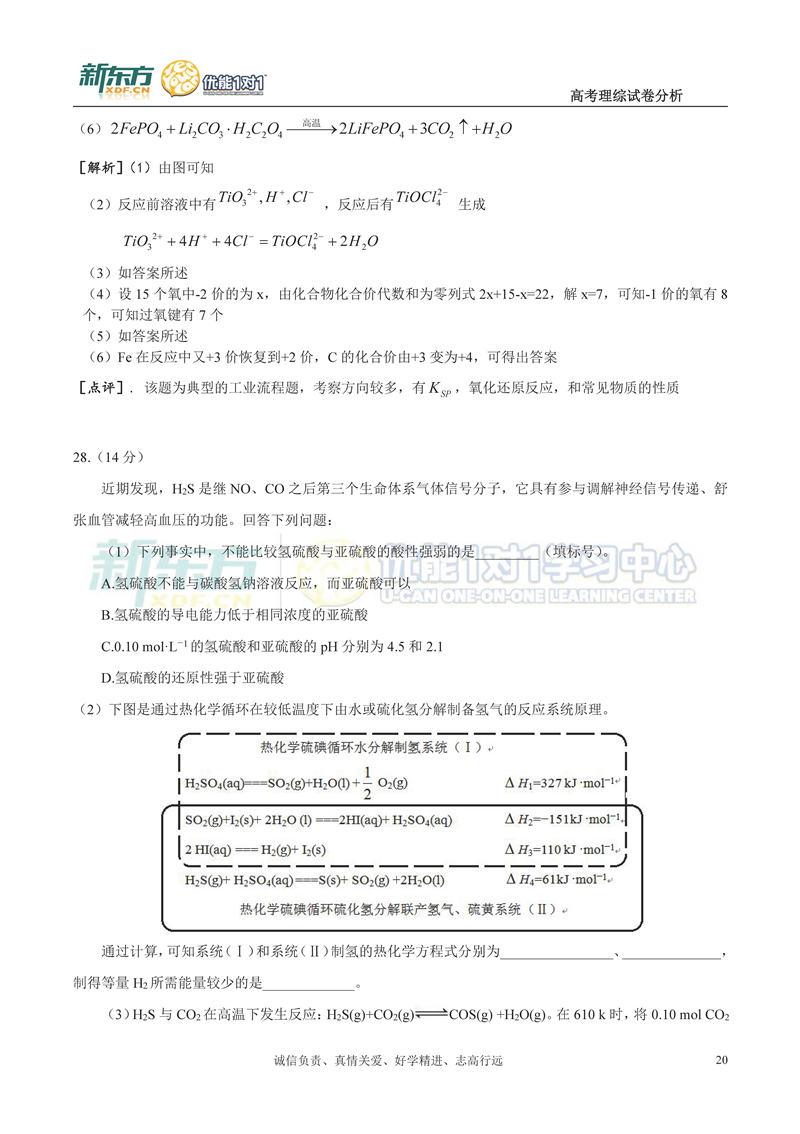 2017年山西省高考全国卷i【理综】试卷试题及答案解析图片