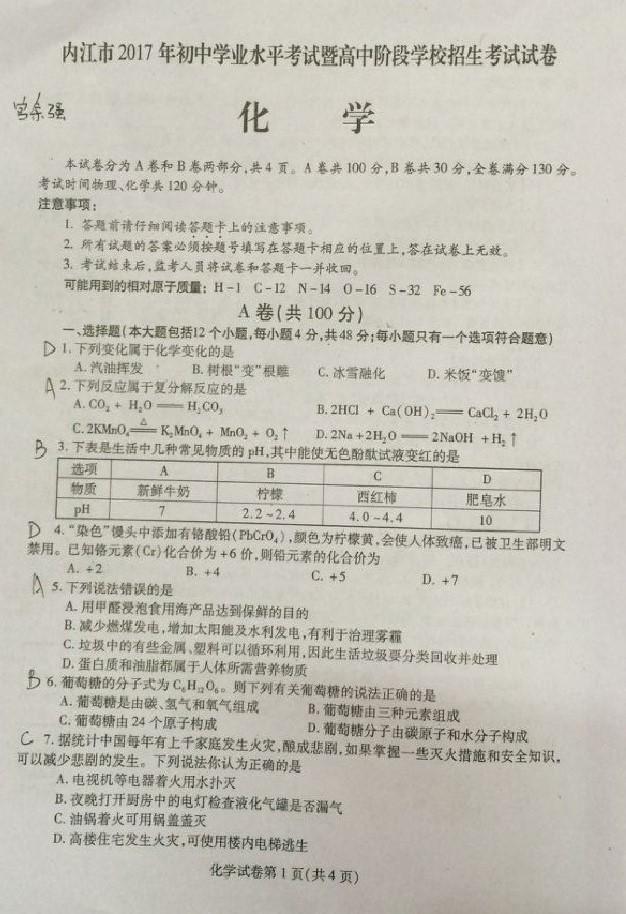 2017内江中考化学试题及答案解析(图片版无答案)