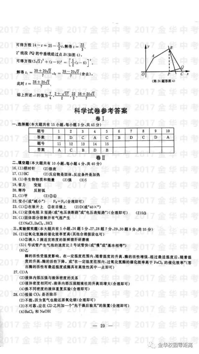 2017金华中考物理试题及答案解析(图片版)