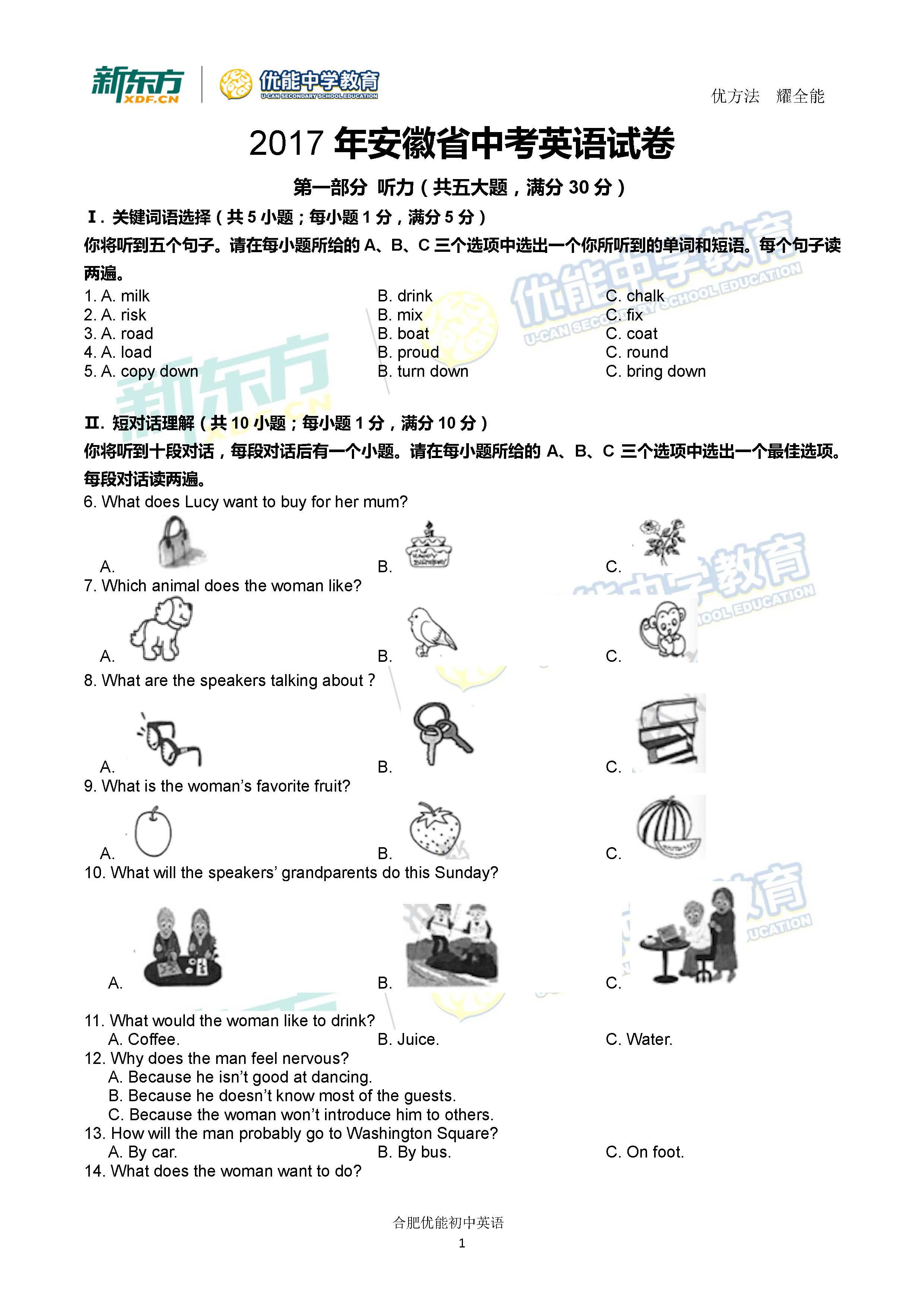 新东方名师逐题解析2017安徽中考英语答案(合肥新东方学校)