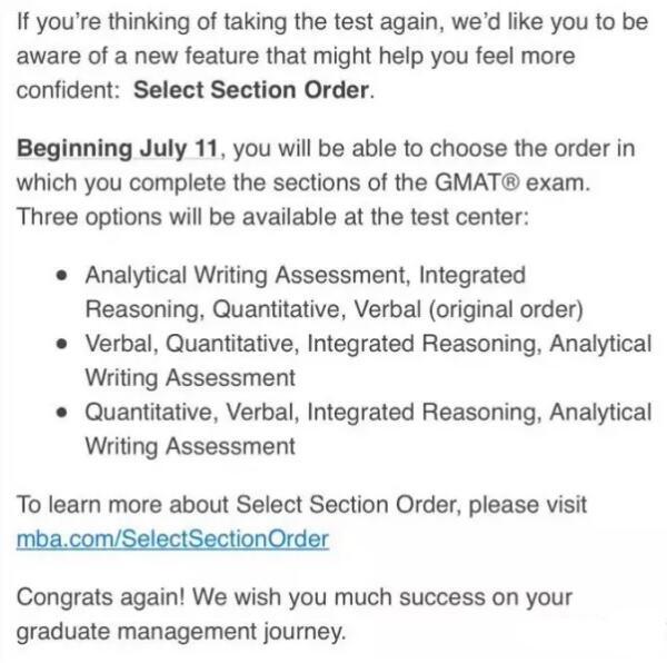 GMAT新调整:考生可自行选择section做题顺序