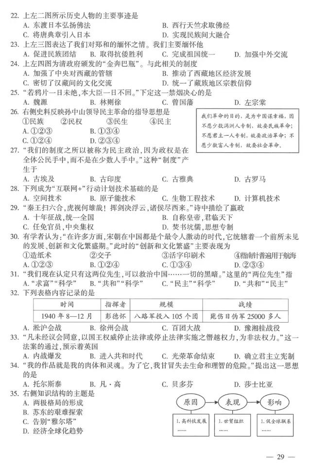 2017江西中考历史试题及答案解析(图片版含答案)
