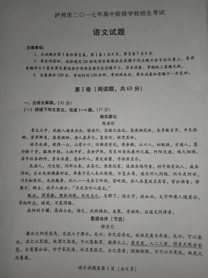 2017泸州中考语文试题及答案解析(图片版含答案)