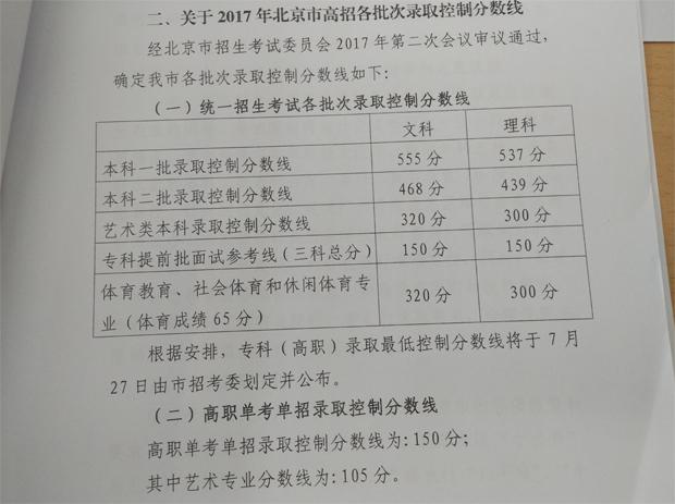 2017北京高考录取批次线