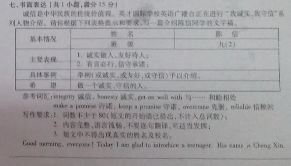 2017黄冈中考英语作文题目及精选范文:我诚实 我守信