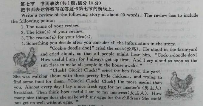 2017枣庄中考英语作文及范文:一只打鸣的公鸡