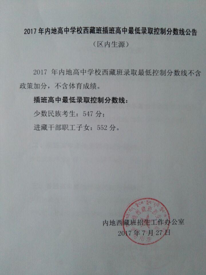 2017内地高中学校西藏班插班中考最低录取分数线