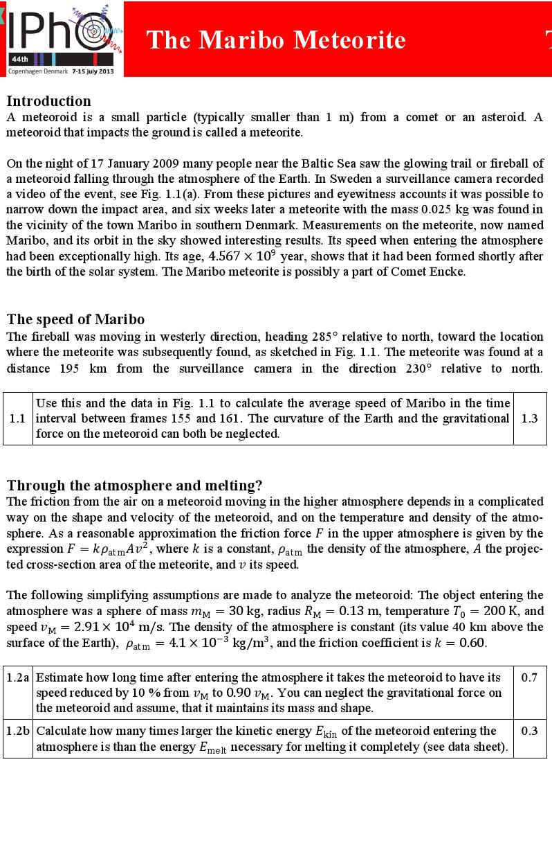 第44届国际物理奥林匹克竞赛试题及答案
