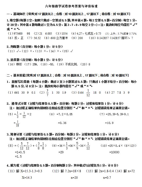 浙教版小升初数学模拟试卷答案(2)