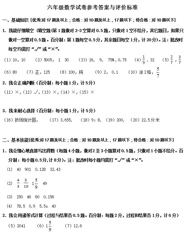 浙教版小升初数学模拟试卷答案(4)