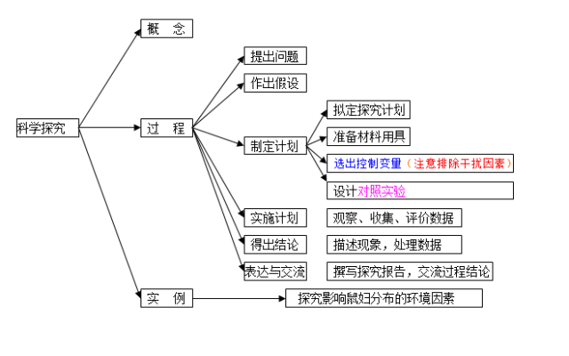 中考生物知识点结构图分类整理:第一章 科学探究