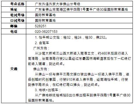 广东省佛山市增设用于英国签证及移民雅思考试考点