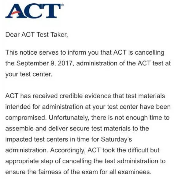 9月9日ACT因泄题大面积取消考试 无额外加考