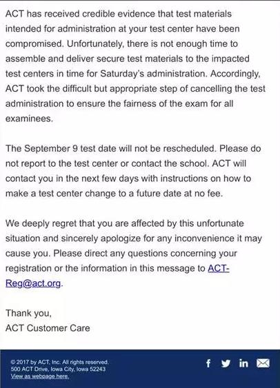 9月9日ACT考试取消 你还有哪些选择