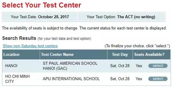 10月28日ACT越南考位