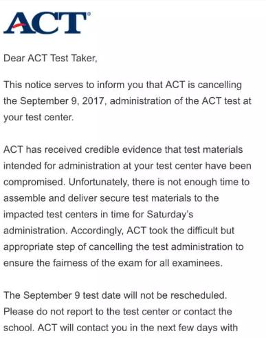 ACT考试须知 9月ACT取消了你该怎么办?