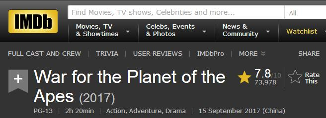 """《猩球崛起3:终极之战》热映 为""""凯撒""""疯狂打Call!"""