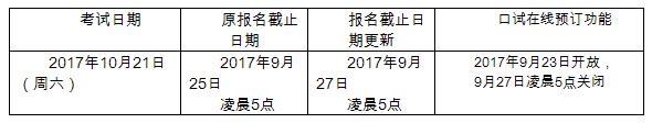 通知:延长2017年10月21日雅思考试报名截止日期