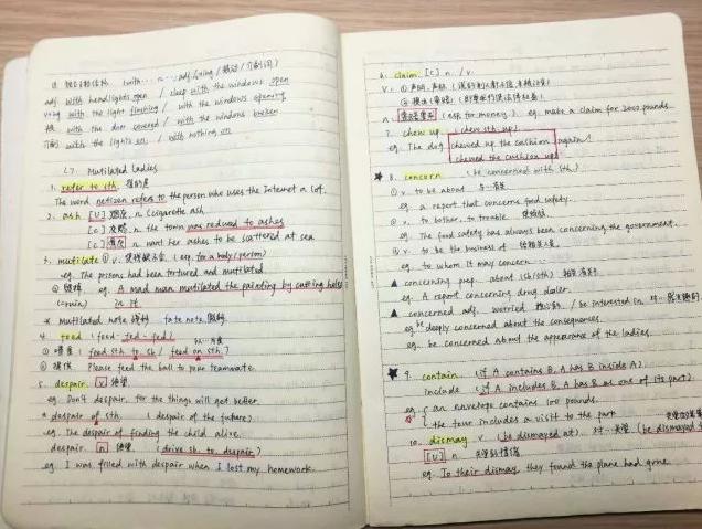 容小新先放出王同学的英语笔记