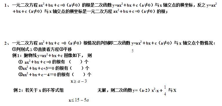 初三数学二次函数的关系知识要点及相关练习题