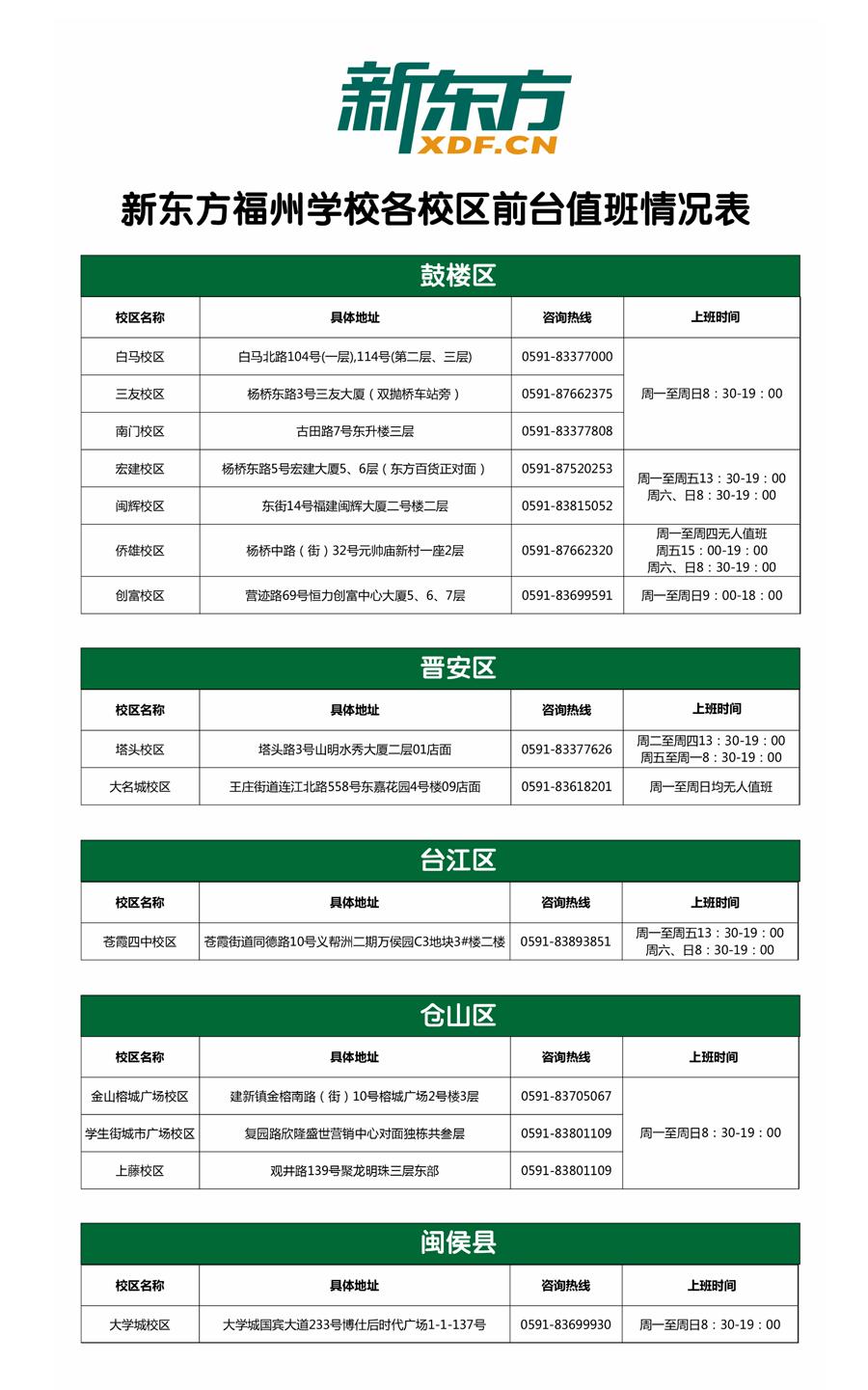 2017年11月校区值班情况表