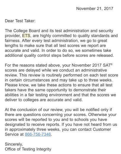 如果考生成绩不幸被delay就会收到上述的邮件