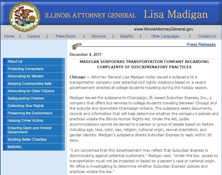 州检察长Lisa Madigan网站