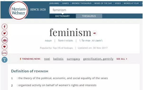2017年度《韦氏词典》词汇:Feminism女权主义