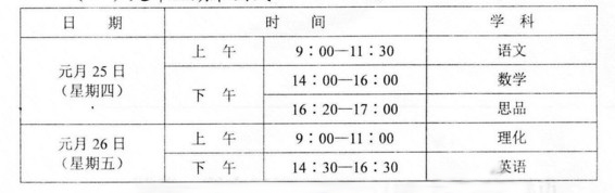 2018武汉初三元调时间及科目安排公布(官方版)