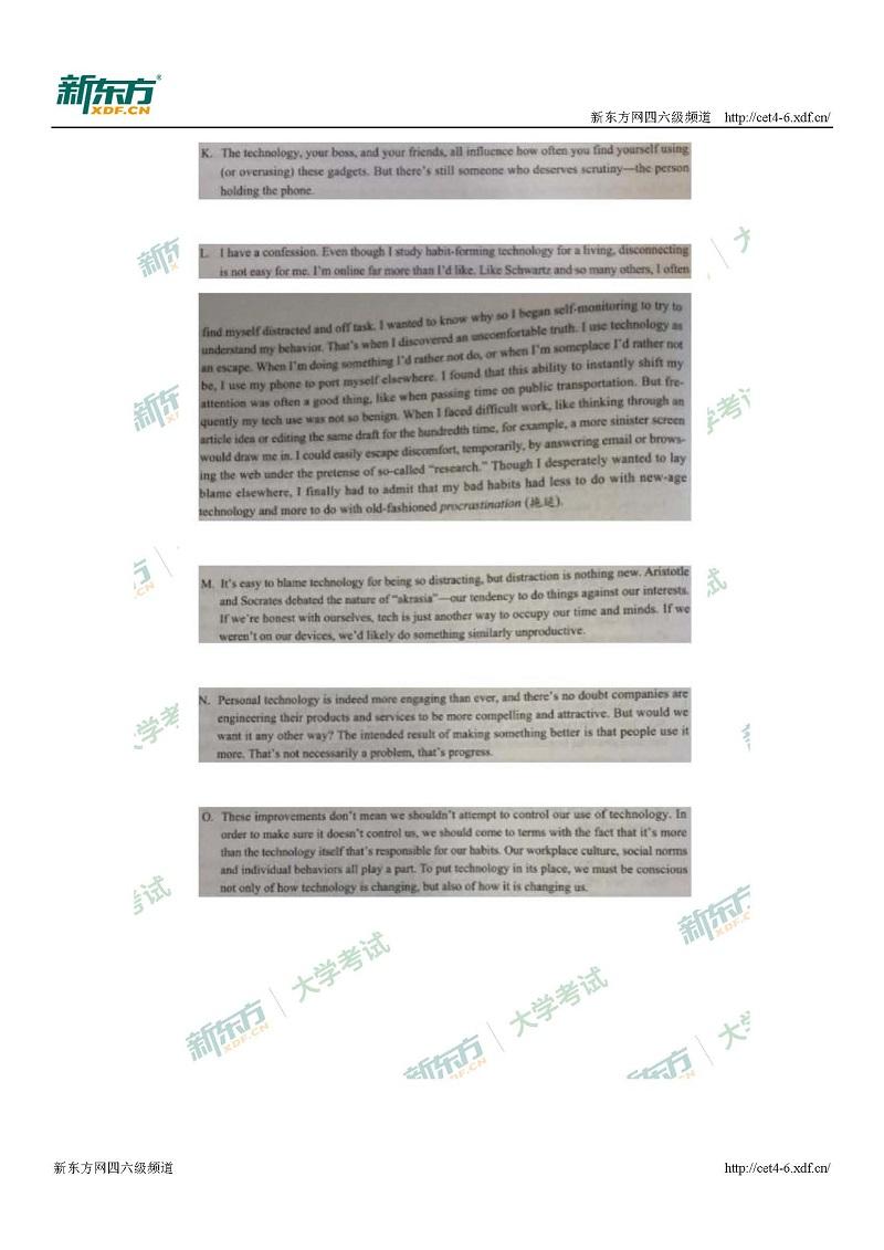 2017年12月大学英语六级阅读试题及解析(南宁新东方)