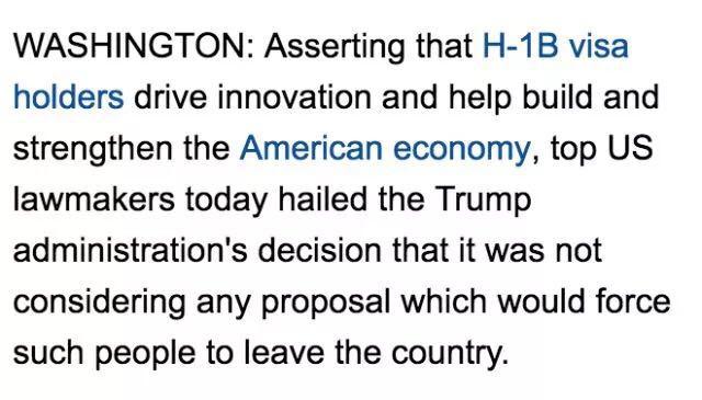 特朗普正式声明不会缩减美国H1B工签