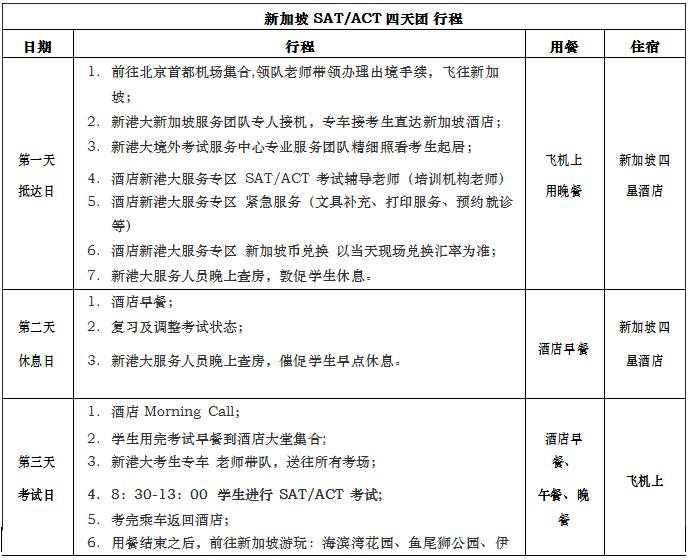 2018年上半年SAT/ACT新加坡四天考试团