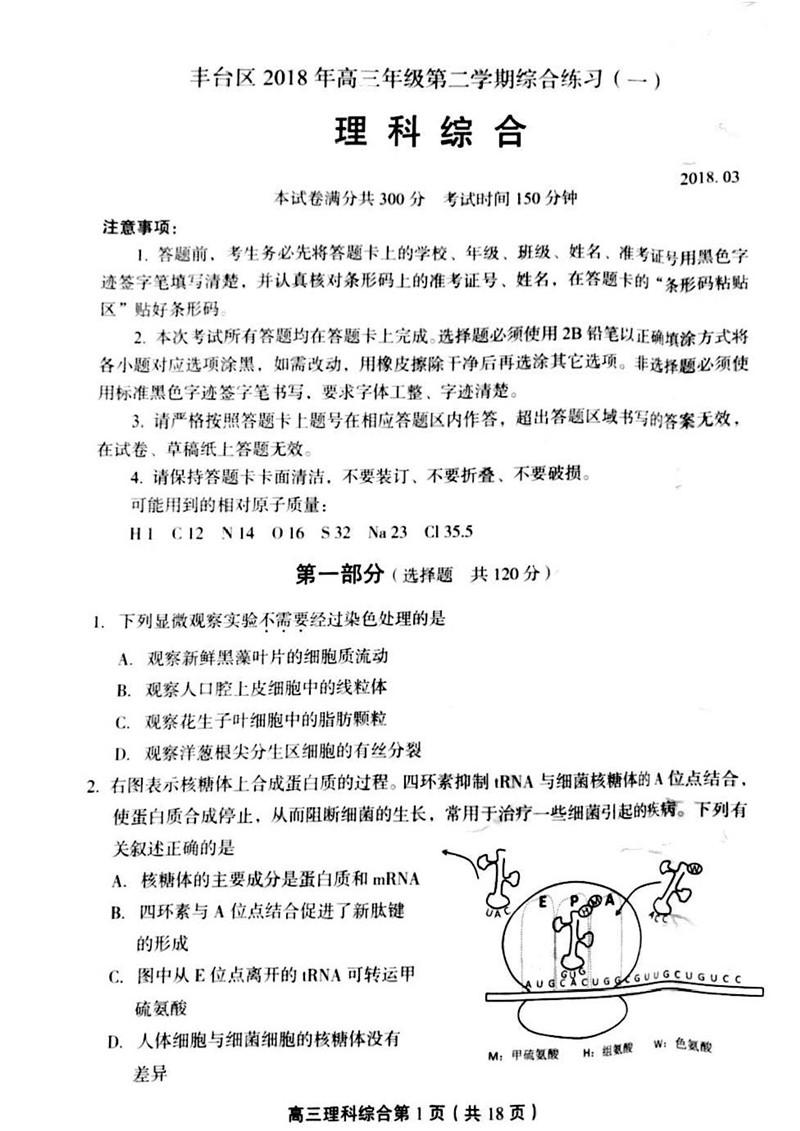 2018北京丰台高三一模理综试卷及答案