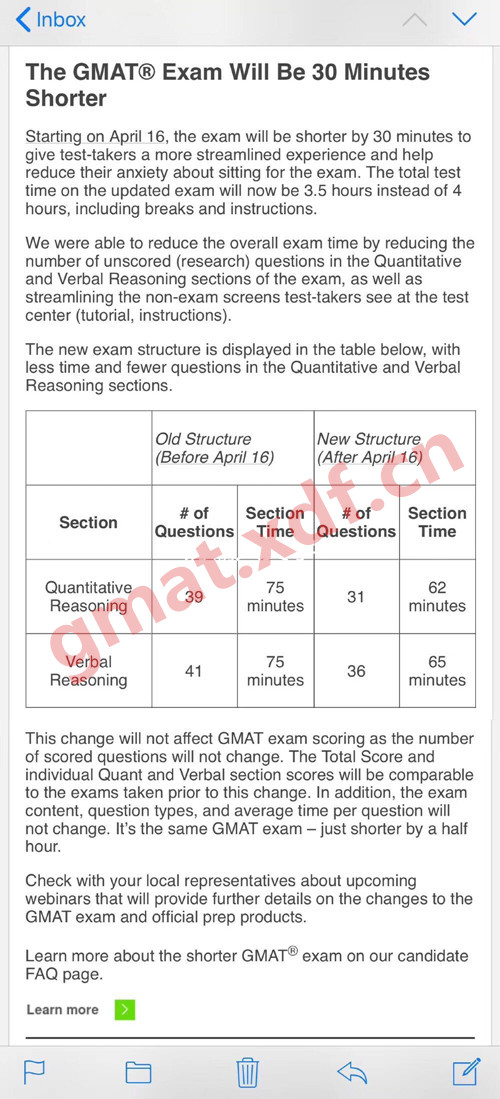 GMAT重大调整:考试去掉不计分题目 时长缩减半小时