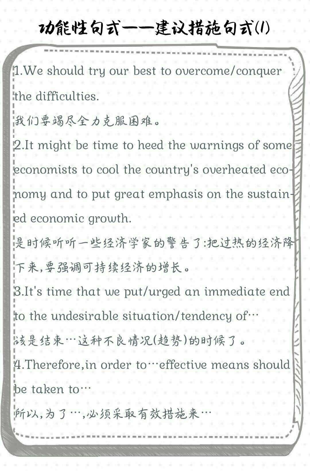 四級備考:功能性句式——建議措施(1)