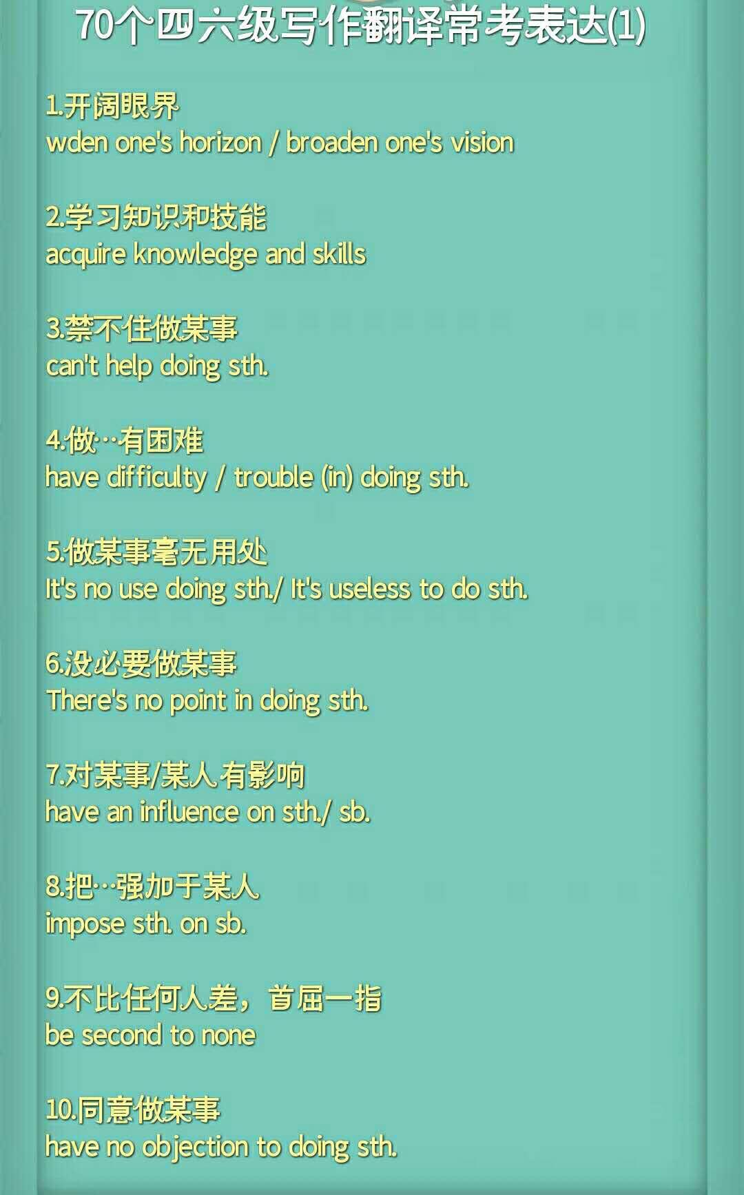 英語四六級寫作翻譯常考表達(1)