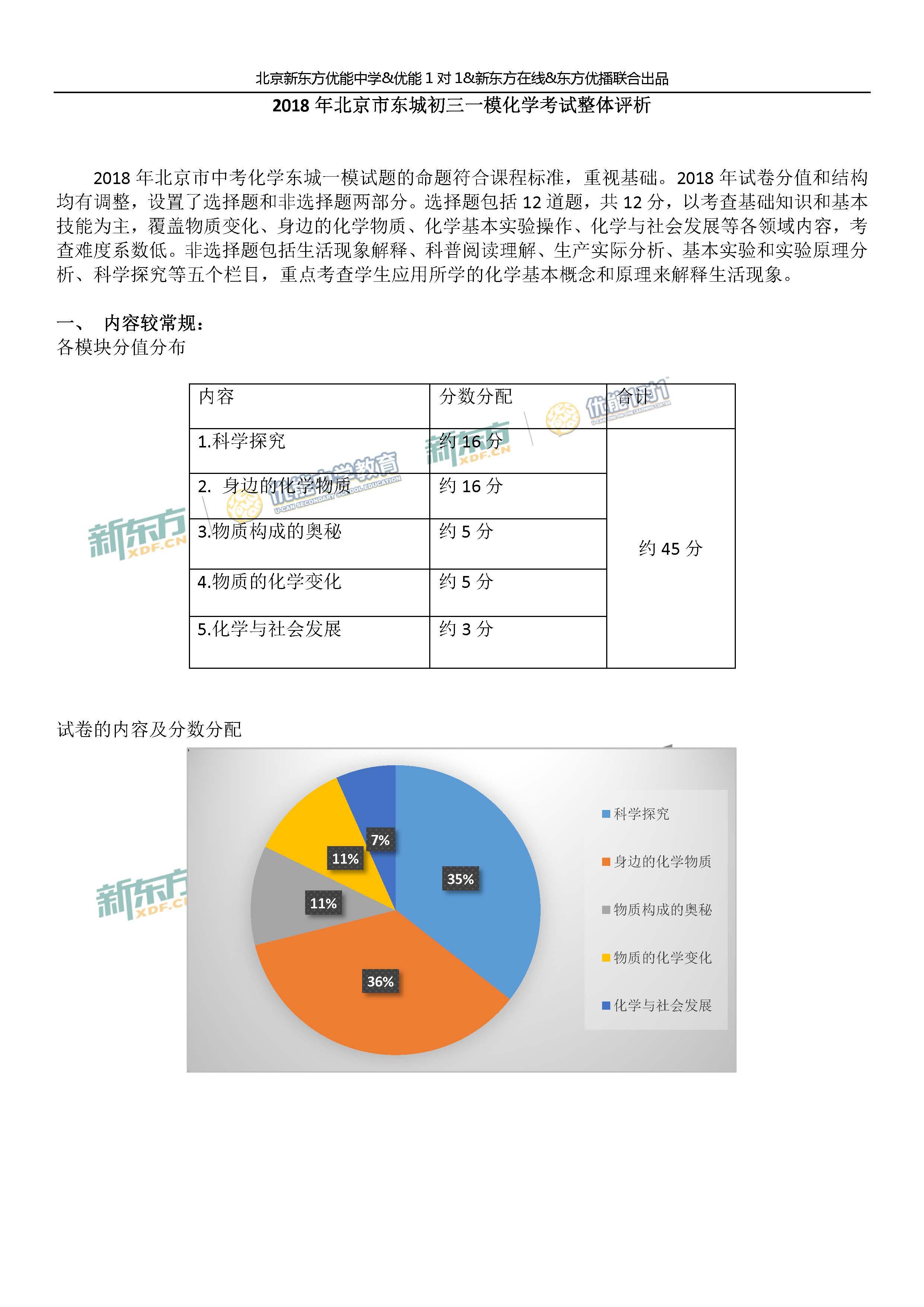 2018东城中考一模化学试题总体点评(北京新东方)