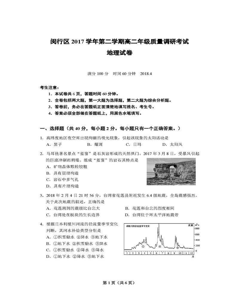 2018上海闵行二模地理高三试卷及答案