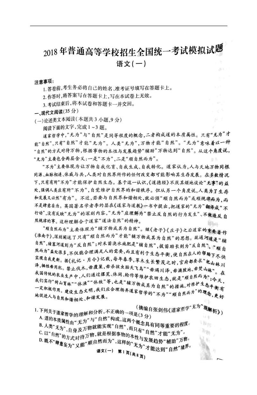 2018全国高三统一联合考试语文试题及答案