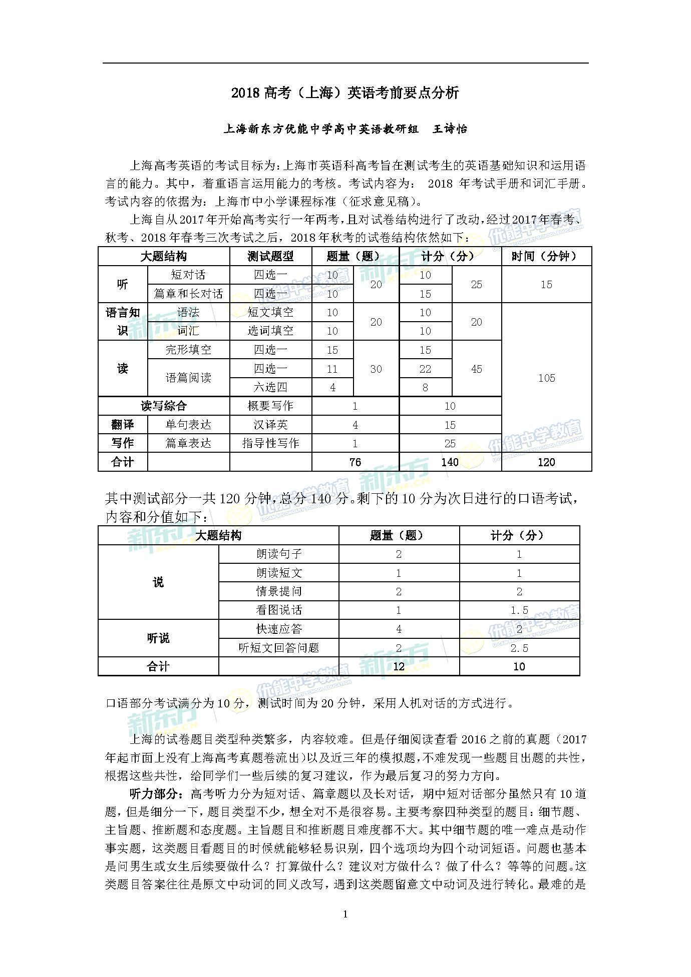2018(上海)英语高考考前要点分析