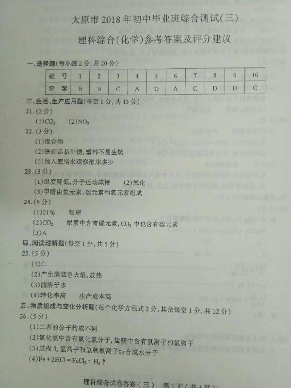 2018太原中考三模化学试题及答案(图片版)