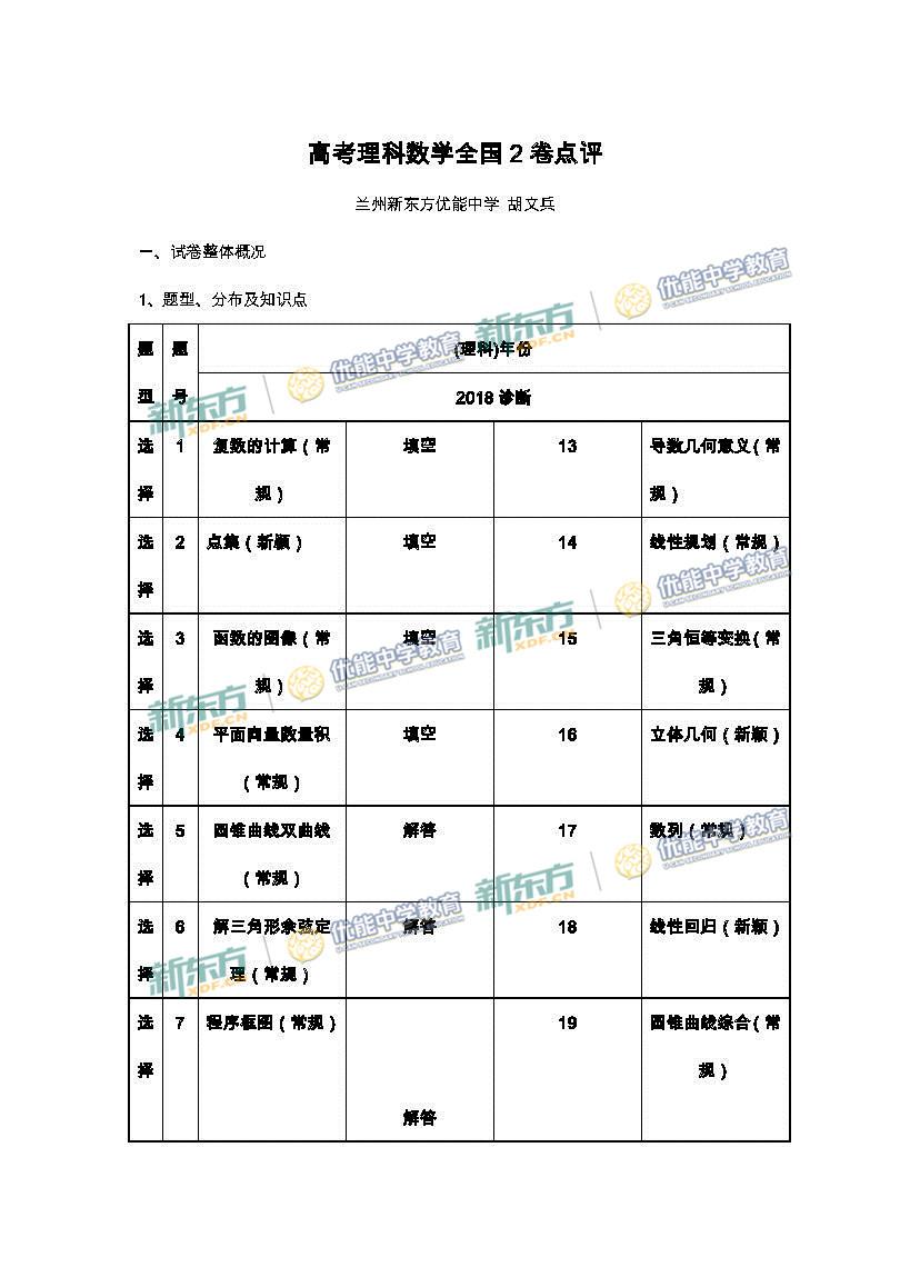 2018年高考全国卷2数学(兰州新东方)