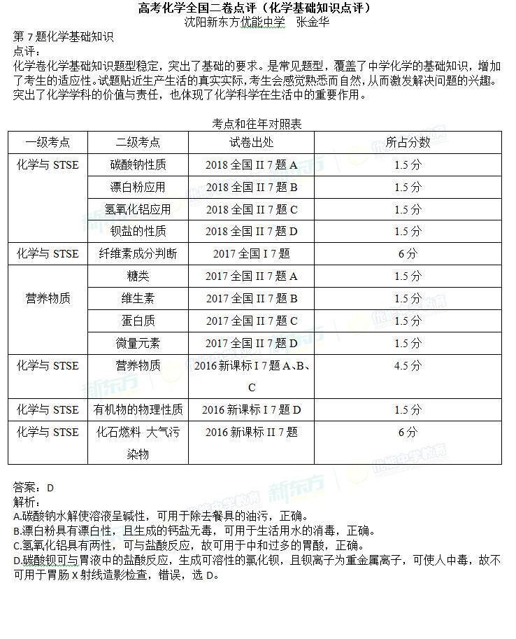 2018全国卷2高考化学基础知识题答案点评(沈阳新东方)