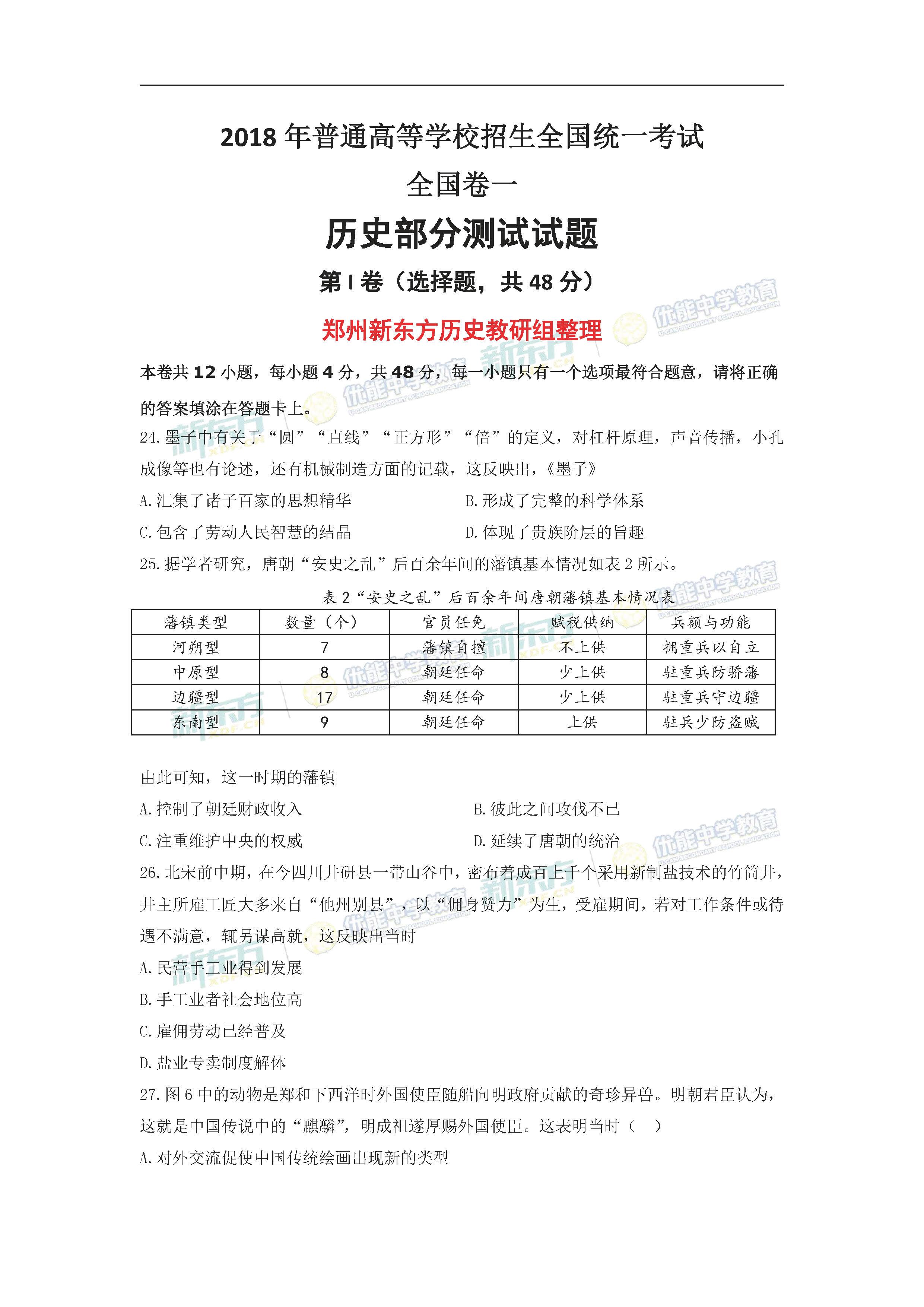 2018全国卷1高考历史试题(郑州新东方)