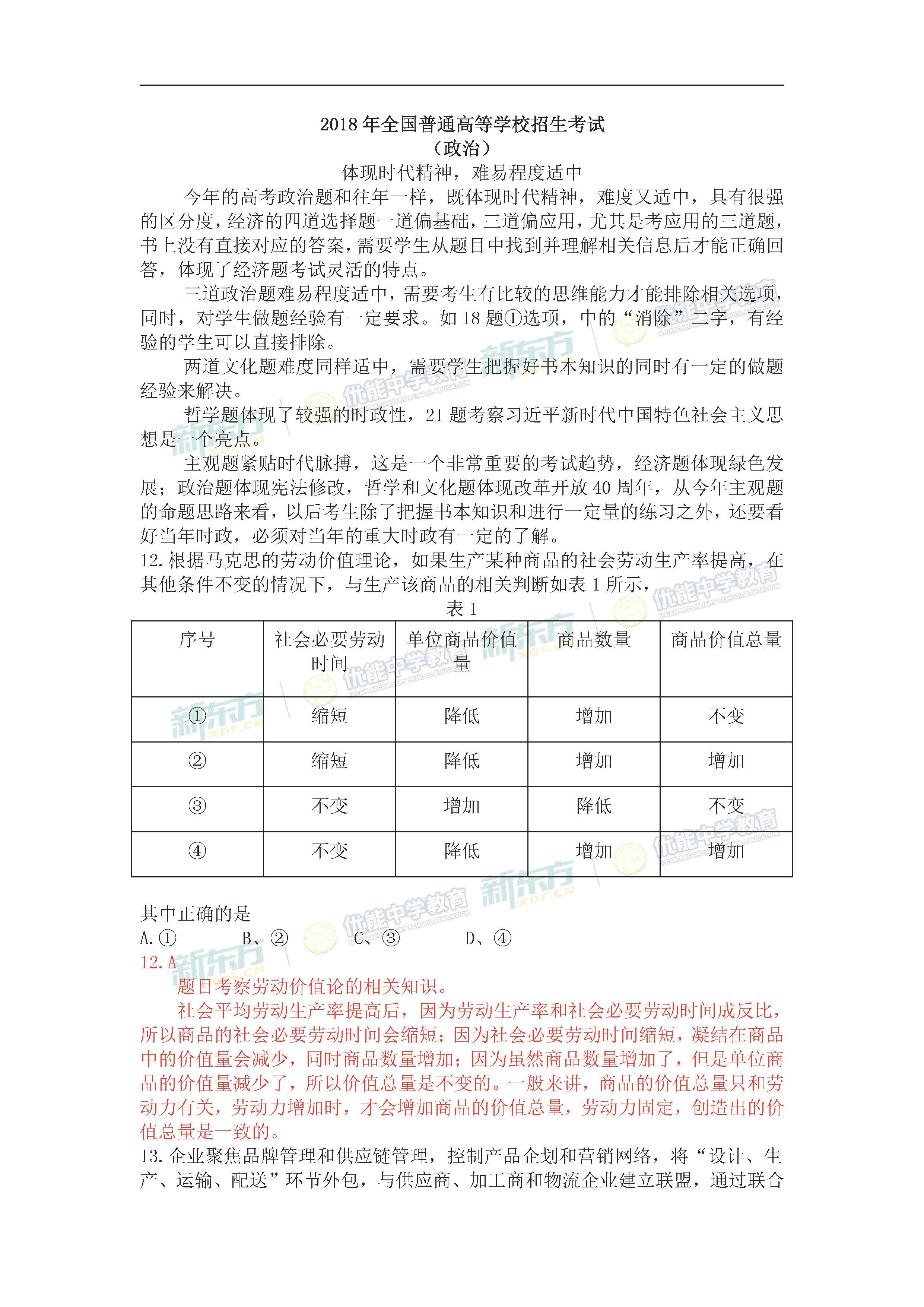 2018全国卷1高考政治试题及答案解析(郑州新东方